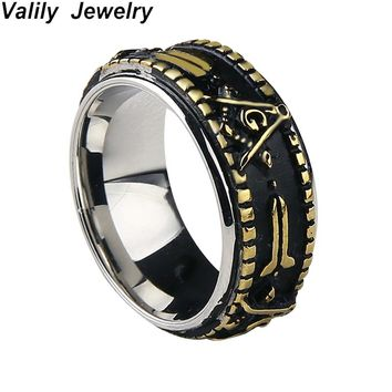 EdgLifU Men's  Spinner Ring Gold Black Freemason Rings Stainless Steel Fashion Masonic Rotate Band Ring For Men Jewelry