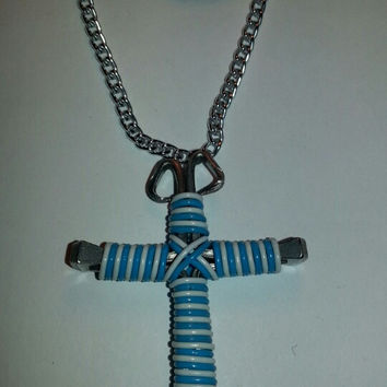 Neon blue and white candy cane wire wrapped horseshoe nail cross necklace jewelry