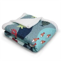 Lush Decor Sea Life Quilted Sherpa Throw (Blue)