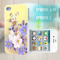 unique iphone case, i phone 4 4s 5 case,cool cute iphone4 iphone4s 5 case,stylish plastic rubber cases cover, yellow purple  floral  bp2927