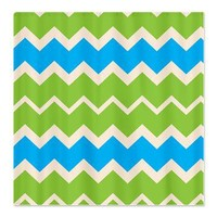 Turquoise and Green retro Chevrons Shower Curtain> Bed and Bath> After My Art by Catherine Holcombe