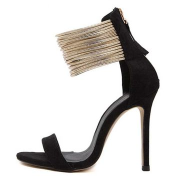 Bold looking leather with metal chain straps open toe pumps