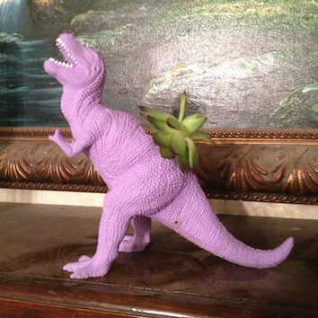 Up-cycled Purple T-Rex Dinosaur Planter