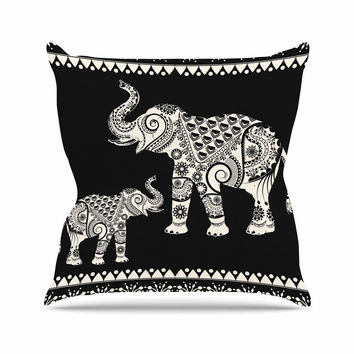 "Famenxt ""Ornamental Indian Elephant"" Black White Digital Outdoor Throw Pillow"