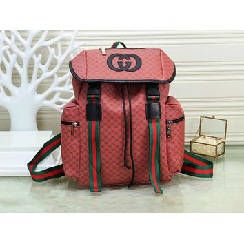 GUCCI fashion printed patchwork color-striped backpacks are hot sellers for both men and women Dark Red