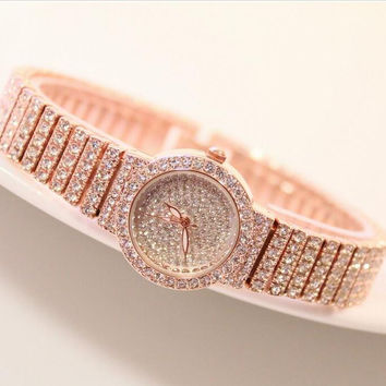 brand Women Rhinestone Watches Rose Gold Dress Watches Full Diamond Crystal Women's Luxury Watches Female Quartz Watches