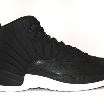Beauty Ticks Air Jordan 12 Retro Black Nylon Basketball Shoes