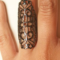 Soixante Neuf Gunmetal Long Filigree Ring