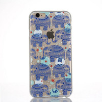 Originality Blue Elephant Lace iPhone 6 6s Case Ultrathin Transparent Cover Gift