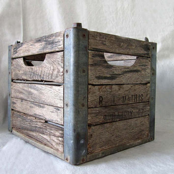 Vintage Wood and Metal Milk Crate