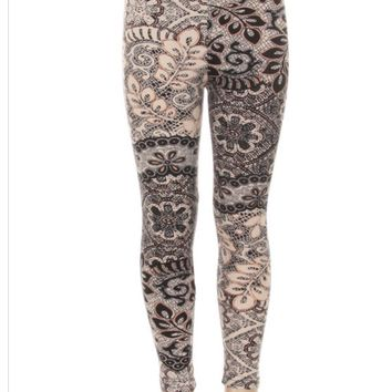 Girls Lace Leggings Floral Vines Pink/Black: S/L