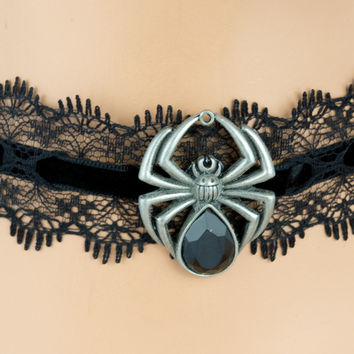 Sexy Black Lace Choker with Black Widow Spider Pendant Gothic Jewelry Necklace