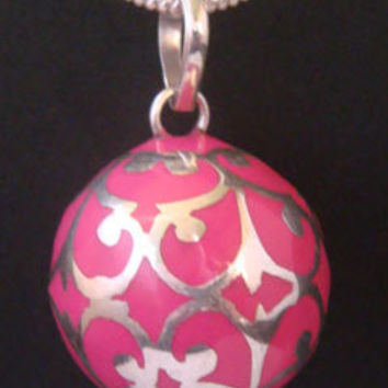 Harmony Ball Necklace with Pink Chime Ball:  Fashionable Harmony Ball with a Pink Chime Ball & 925 Sterling Silver Filigree + Bonus Chain