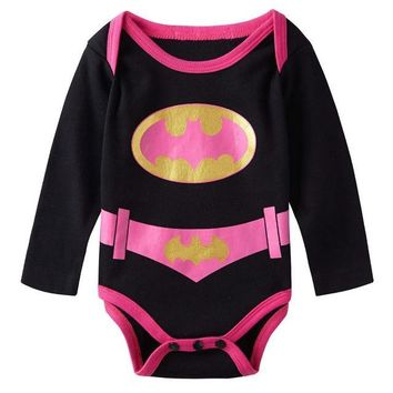 Baby Girl Boy Bodysuit Superhero Long Sleeves Deadpool Wonder Woman Hulk Harley Quinn Wolverine Superman Halloween Costume