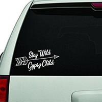 Dabbledown Decals Stay Wild Gypsy Child Version 102 White Version Car Window Windshield Lettering Decal Sticker Decals Stickers