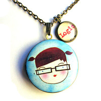 Nerdy Girl Glasses Locket Logic Word Pendant Brass Setting Library Card Necklace One of a Kind