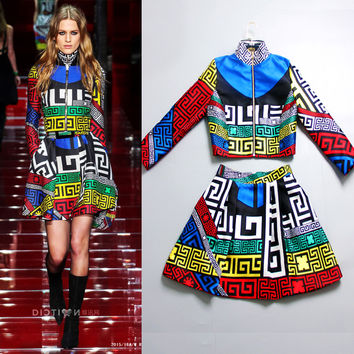 S-4XL High Quality Europe 2016 new spring and summer catwalk fashion A fine printing Coat +  dress suits crisp stylish women