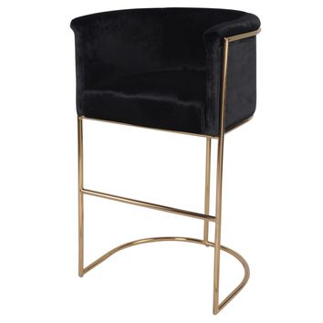 Colm Fabric Bar Stool, Obsidian Black