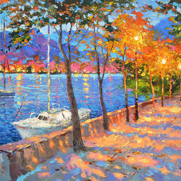 Blue Bay. High Quality Print on Canvas, Dmitry Spiros, living room decor wall art, night painting. bay painting, mountain painting.