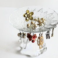 Earring Organizer Vintage Glass Dresser Decor Vanity Stand Ladies Jewelry Holder Valentines Birthday --US Shipping Included