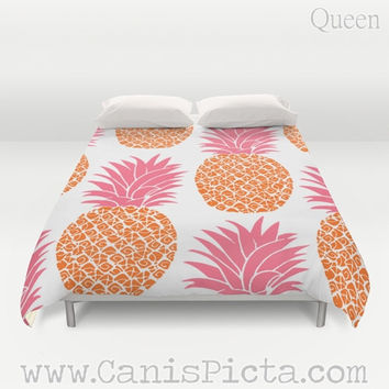 Duvet Cover Pineapple Ananas QUEEN or KING size Tropical Sweet Tropics Foliage Hot Pink Neon Orange Fruit Sweet Modern Pop Art Room Decor