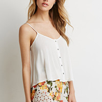 Crochet-Paneled Floral Shorts