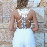 PRE ORDER - SAVANNAH PLAYSUIT (Expected Delivery 27th September, 2013) , DRESSES, TOPS, BOTTOMS, JACKETS & JUMPERS, ACCESSORIES, SALE, PRE ORDER, NEW ARRIVALS, PLAYSUIT, COLOUR,,White,CUT OUT,Sequin Australia, Queensland, Brisbane