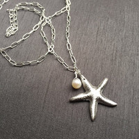 "Starfish Charm Pendant, Pearl Drop, Fine Silver (.999%), Sterling Silver Chain, 32.25"" Beach Necklace, Handmade Jewelry, Gifts for Women"