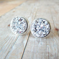 S P A R K L E  - Silver Chunky Sparkle, Faux Druzy, Silver Plated Stud Earrings, 12mm