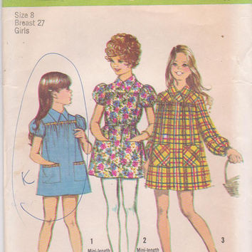 Vintage 1970s pattern for smock-dress, mini dress, or tunic with long or short sleeves girls size 8 breast 27 Simplicity 5108 UNCUT
