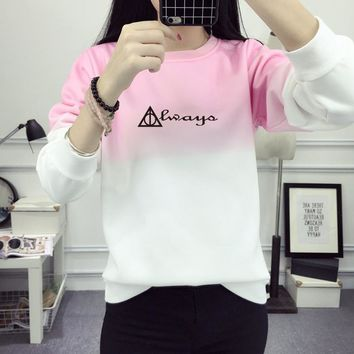 Harry Potter Sweatshirt Winter Women 2017 Letter Always Sweatshirts Women Print Hoody Gradient Letter Pullover Fleece JBW-21590