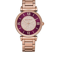 Michael Kors Women's Rose Gold-Tone And Burgundy Dial Catlin Watc