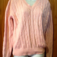 Vintage 80s Polo Ralph Lauren Pink Preppy Cable Knit V Neck Pullover Sweater Size
