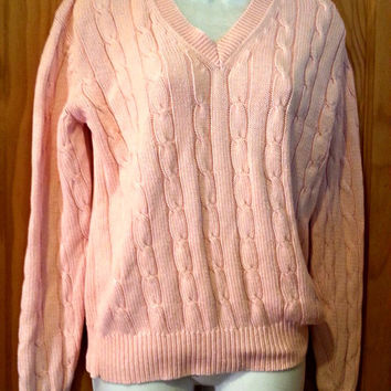 39b5a7234e Vintage 80s Polo Ralph Lauren Pink Preppy Cable Knit V Neck Pullover Sweater  Size