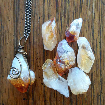 Raw citrine necklace, Citrine pendant, stone pendant, Citrine point pendant, November birthstone, yellow crystal, rough, birthday gift