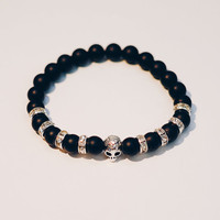 Premium Men's Matte Black Onyx Bracelet with CZ Rondel and Silver Plated Skull