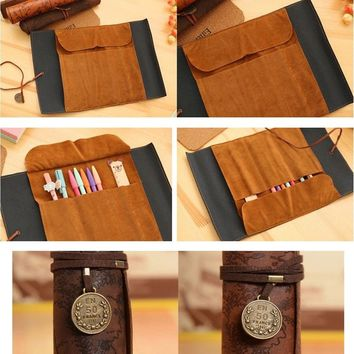 Steampunk Treasure Map Retro Roll Case Bag Purse Pouch Leather  Cosmetic Make Up PU Bag Pen Pencil Case For School
