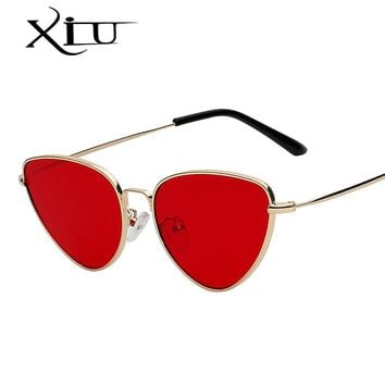 XIU Fashion Cateye Women Sunglasses Brand Designer Retro Vintage Metal Frame Glasses Ocean Lens  Sunglasses Top Quality UV400