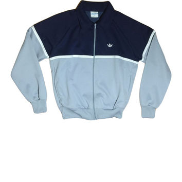 90s ADIDAS Trefoil Navy, Grey, and White Zip Jacket // Adidas Jacket // Health Goth // Size Large