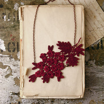 lace necklace - SOPHIE - oxblood burgundy - lace jewelry