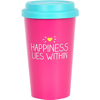 River Island Womens Pink happiness lies within travel mug
