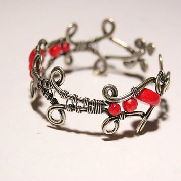 red coral bracelet-wire wrapped jewelry handmade- wire jewelry bracelet wire-silver cuff bracelet