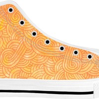 Ombre yellow and orange swirls doodles White High Tops