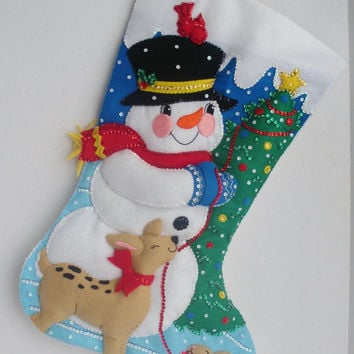 Jumbo Felt Snowman Christmas Stocking