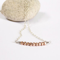 VALENTINE'S DAY Nugget Necklace, Rose Gold Beads Silver Necklace Mixed Metal Modern