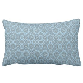 Intricate Vintage Floral - Light Blue Lumbar Pillow