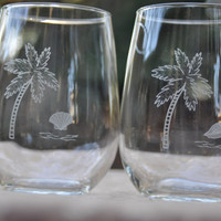 Palm Tree Stemless Wine Glasses - Set of 2