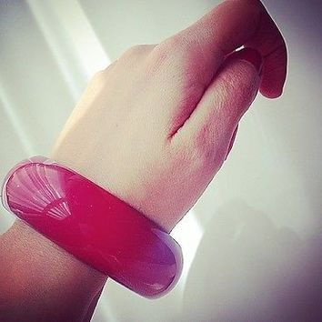 Ladies Plastic Bright Pink Bangle, Costume Jewellery