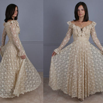 Beautiful Vintage 60s Lace Maxi Dress Ecru Les Wilk Wedding Gown S Small Couture designer