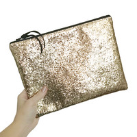 Chunky Gold Glitter Clutch Bag